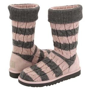 NEW Ugg Tall Pink Grey Stripe Cable Knit Boots 10